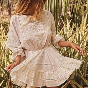 Love Shack Fancy Noelle Embroidered Crochet Dress